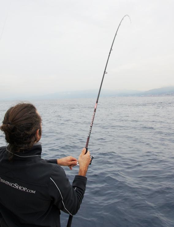 Canna da pesca per lo spinning in mare in azione. Un bel pesce ha abboccato all'esca artificiale